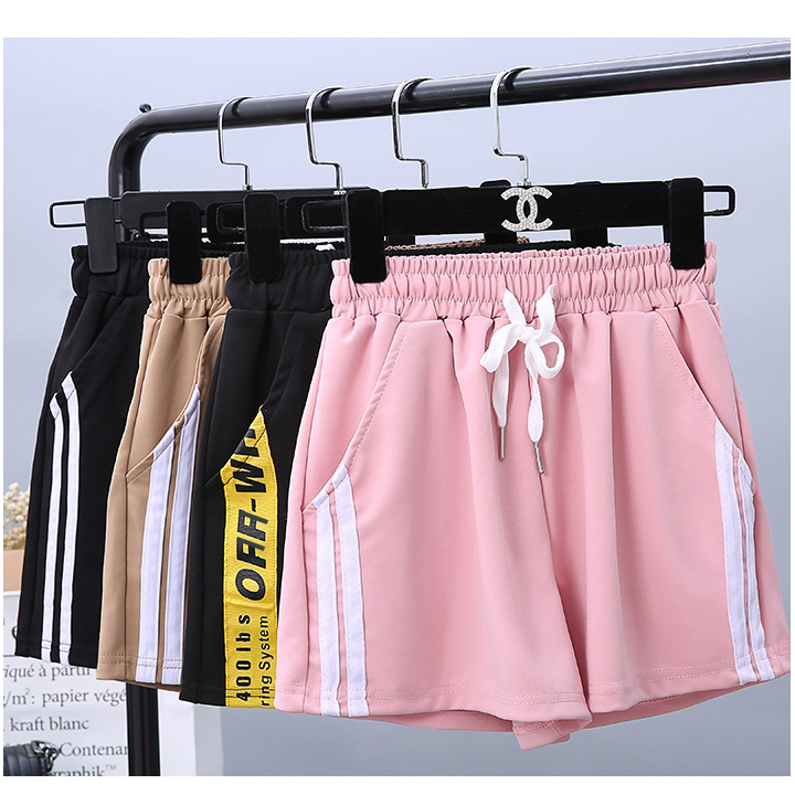 Women Casual Shorts Yellow Sides Stripe High Waist Joggers Loose Harajuku Wide Hot Shorts Capirs Bf Style Pink Casual Workout