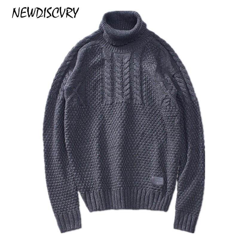 NEWDISCVRY Fashion Solid Color Turtleneck Sweater Men 2018 Winter Warm Man Knitted Pullover Casual Men's Slim Fit Twist Knitwear