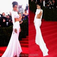 Rihanna Celebrity Dress Weiß Sexy Zweiteilige Langarm Ptom Kleider Meerjungfrau Stehkragen Kristalle Backless Abendkleider