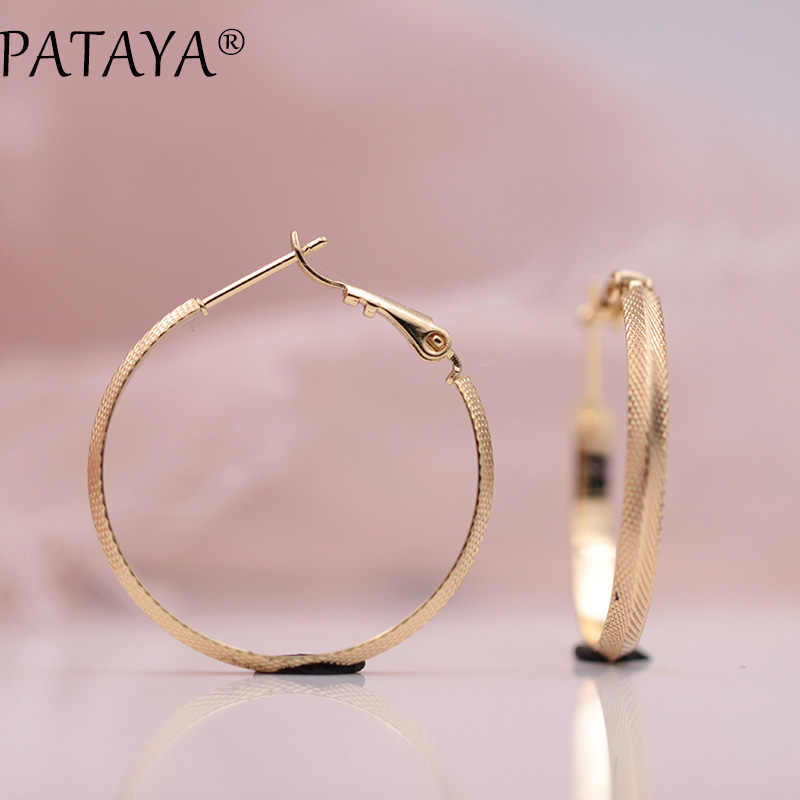 PATAYA New Arrivals Special Sales 585 Rose Gold Large Dangle Earrings Women Vintage Hyperbole Single Carved Fashion Jewelry