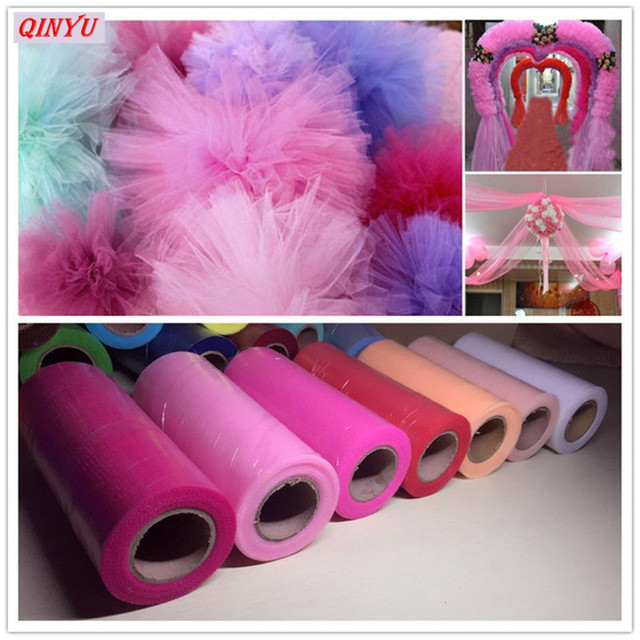 15cm*22m Crystal tulle Roll Organza Fabric Spool Tutu Birthday Party  Wedding Baby Shower party decoration pink white 5z SH759
