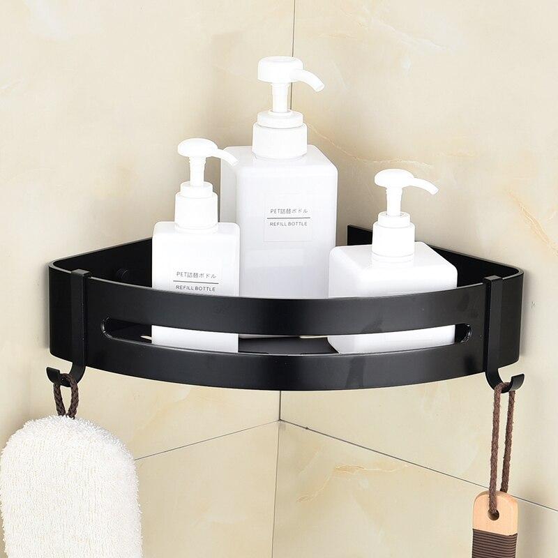 Clásica no perforada baño negro inodoro de aluminio espacio engrosada Triangular pared colgando sola capa estante de la esquina