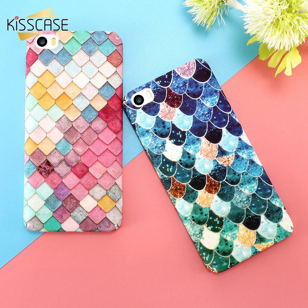 Kisscase mi5 mi6 case para xiaomi 5 6 cubierta 3d colorido escalas de la sirena