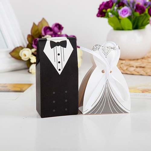 100 Pieces Creative Bride And Groom Candy Box For Wedding