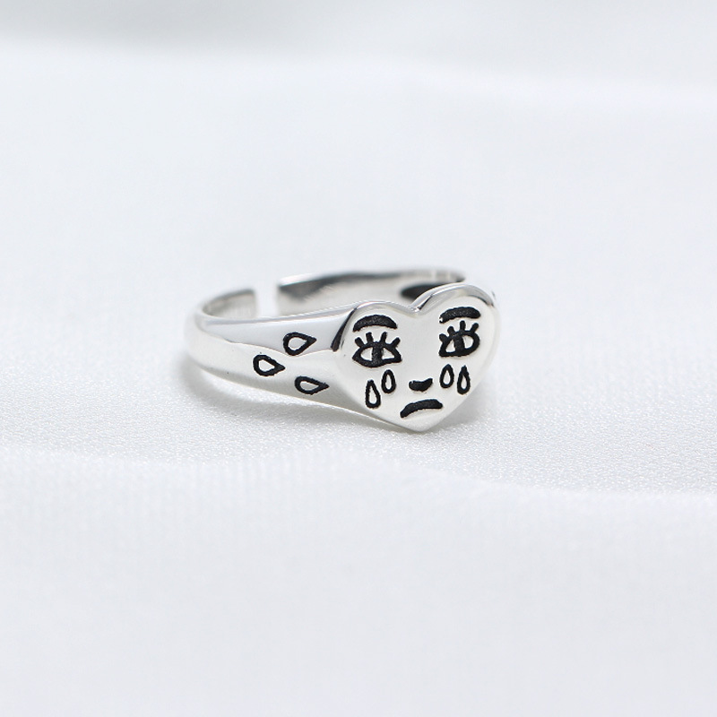 100% 925 Sterling Silver Funny Heart Crying Face Rings For Women Accessories Bague Femme, Mood Ring Fashion Anelli Donna Jewelry