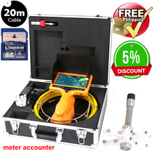 20/30m DVR Cable Underwater Video Pipe Inspection Camera sony CCD600TVL 12Pcs LED Lights Sewer Camera 7″LCD with meter accounter
