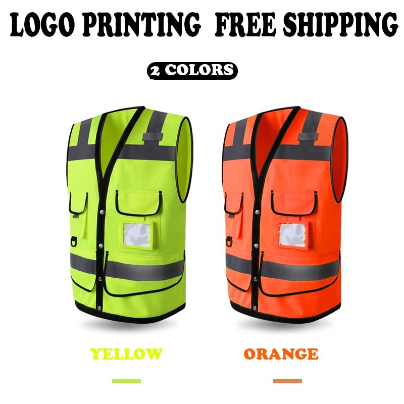 f6fb342c188 Chaleco de seguridad reflectante de alta visibilidad naranja amarillo  fluorescente de ropa de abrigo para hombre Impresión de logotipo de  pantalla envío ...