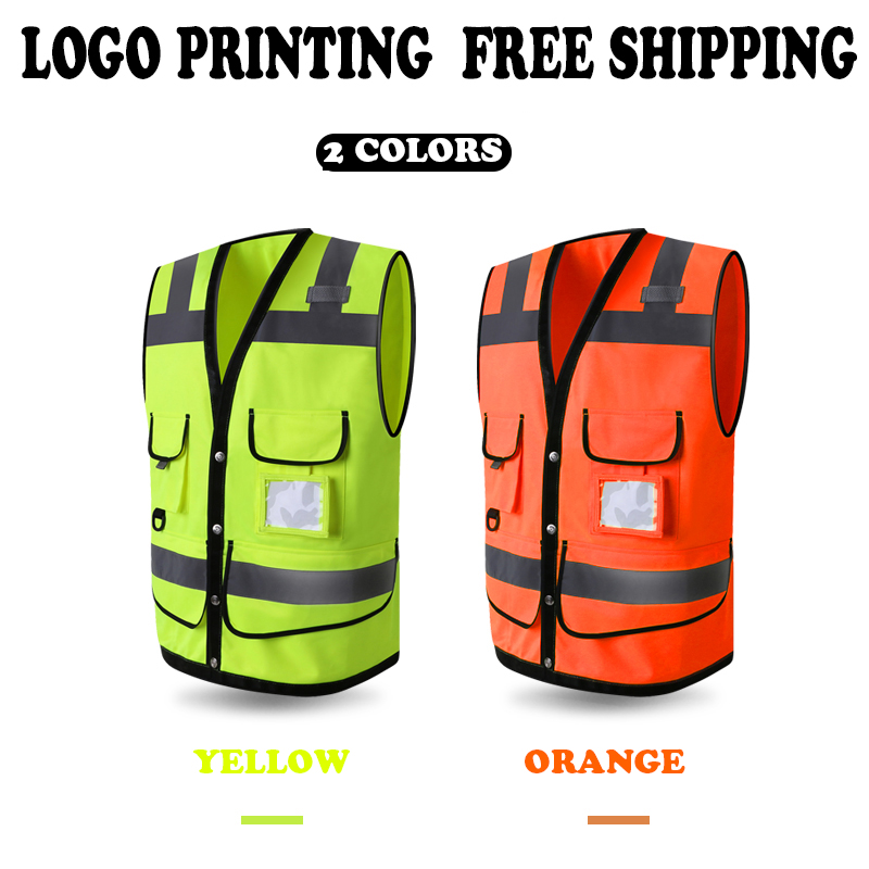SPARDWEAR FLUORESCENT YELLOW ORANGE HIGH VISIBILITY REFLECTIVE SAFETY VEST WAISTCOAT MENS SCREEN LOGO PRINTING FREE SHIPPING fluorescence yellow high visibility