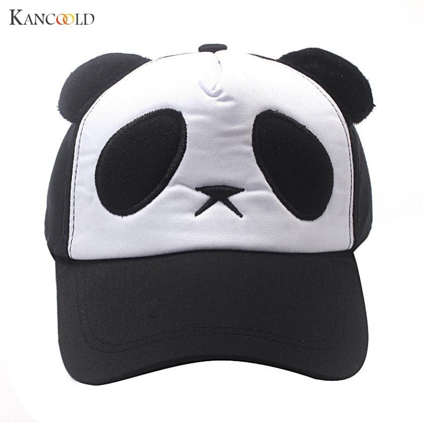 2017 Precioso Panda Imprimir Sólido Unisex Peaked Hat Snapback Gorra - Accesorios para la ropa