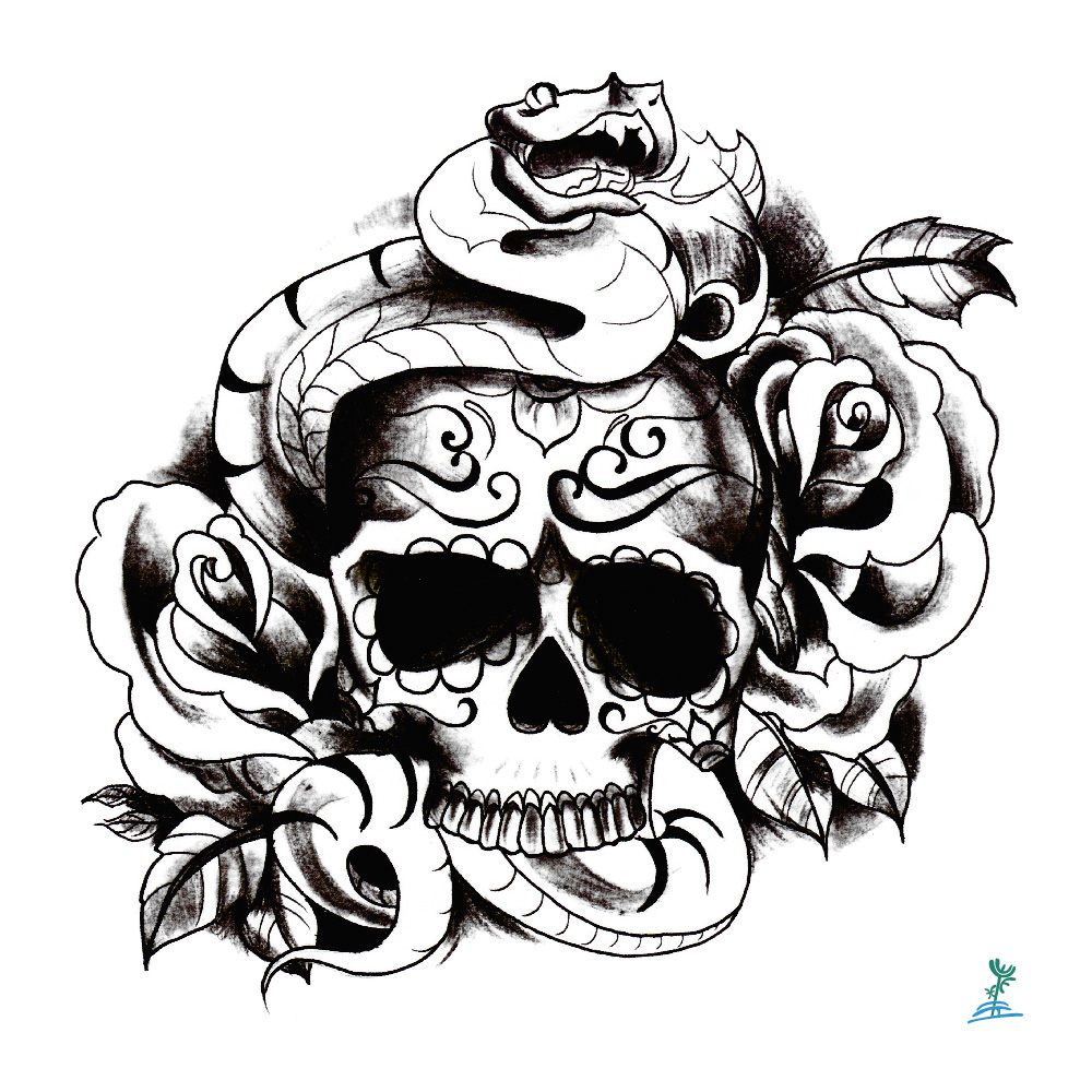 இyeeech Temporary Tattoos Sticker For Men Women Skeleton