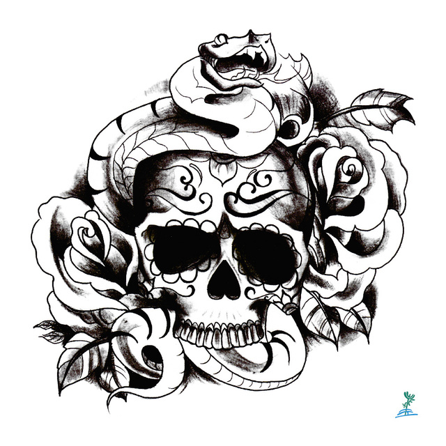 Skulls Tattoo Design Wallpaper: Yeeech Temporary Tattoos Sticker For Men Women Skeleton