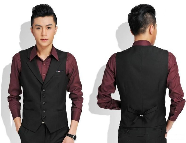 Custom Made Black Red Grey Groomsmens/Best Man Vest Custom Made Size and Color Five Buttons Wedding/Prom/Dinner Waistcoat
