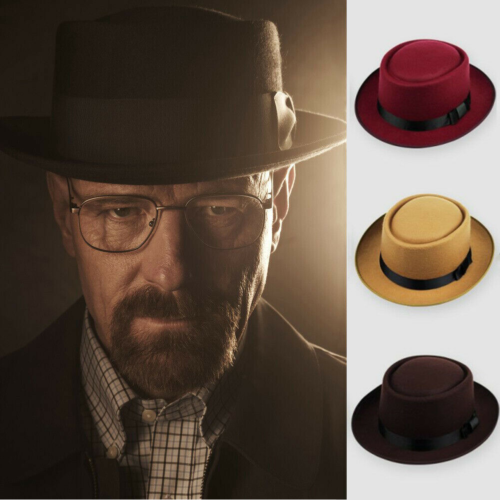 Unisex Men Women Classic Fe Pork Pie Hat Church Trilby Jazz Cap Gentleman Fe Cap