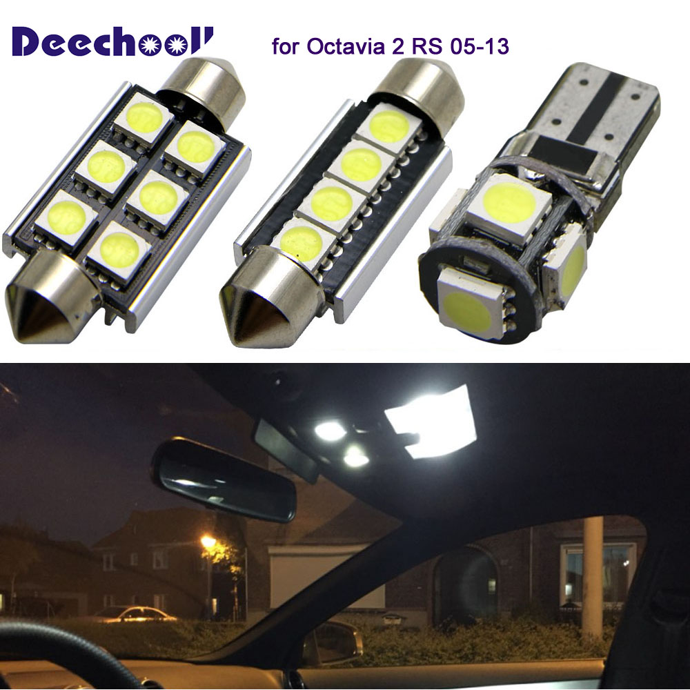 deechooll 10pcs car led light for skoda octavia 2 rs 05 13. Black Bedroom Furniture Sets. Home Design Ideas