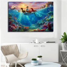 The Little Mermaid Falling In Love Thomas Kinkade Canvas Posters Prints Wall Art Painting Decorative Picture Modern Home Decor