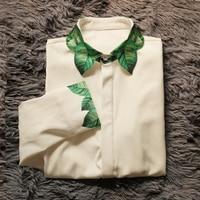 Spring Autumn Women Original Design Exquisite Hand Painting Green Leaf Print Vintage Elegant Shirt