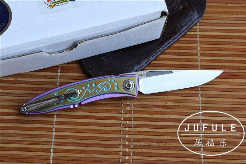 JUFULE Mini sebenza M390 Blade snake wood TC4 Titanium handle folding Copper washer font b hunt