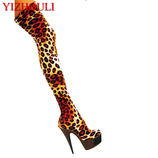 5e08f8f411b Fashion 15cm Leopard Print Leather Sexy High Heels 6 Inch Platform Women  Over Knee Thigh High Boots Sexy Boots