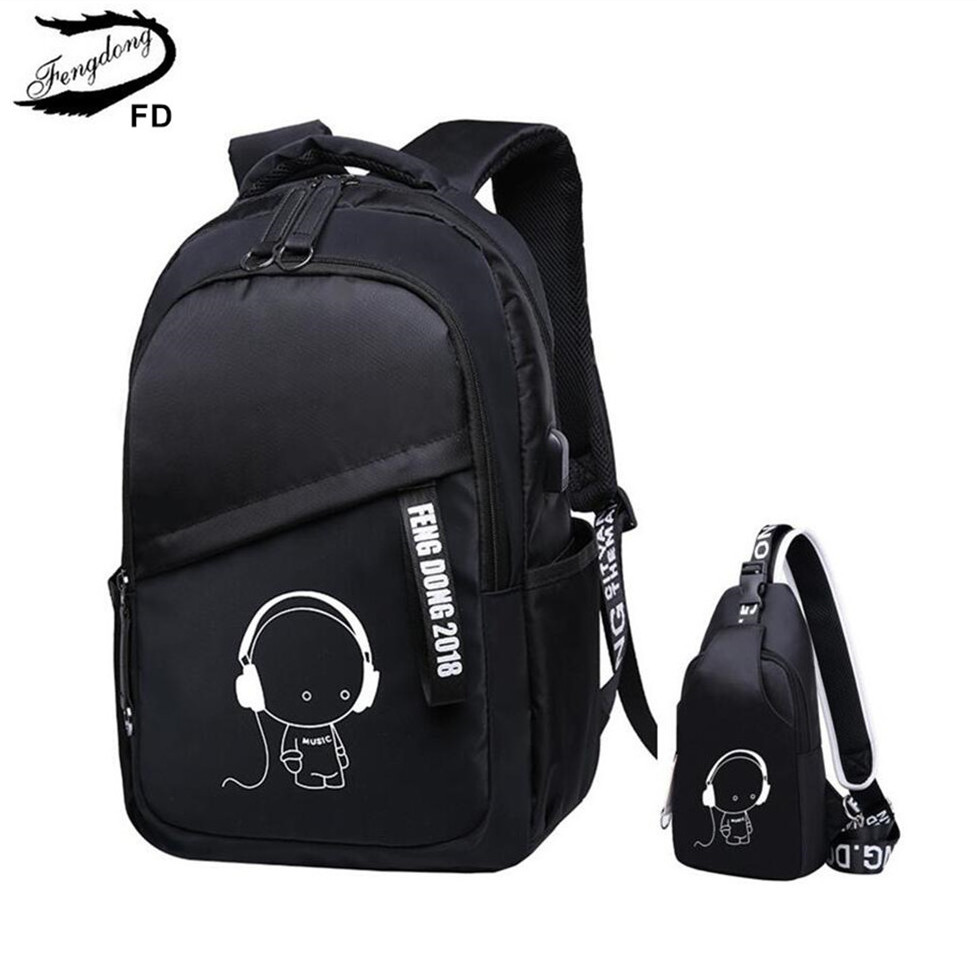 FengDong children school bags for boys sling chest bag waterproof school backpack for girls schoolbag backpack kids shoulder bag fengdong brand female laptop backpack women travel bags high school backpack for girls black and white waterproof chest bag set