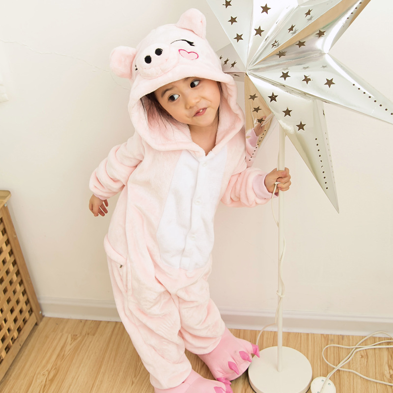2016 Christmas Pajamas Pink Pig Cartoon One Piece Sleepwear Flannel Girls Christmas Gift