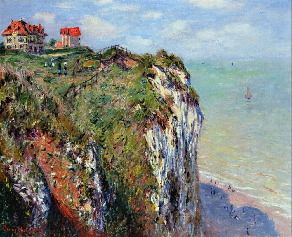High quality Oil painting Canvas Reproductions Cliff at Dieppe (1882)  by Claude Monet hand paintedHigh quality Oil painting Canvas Reproductions Cliff at Dieppe (1882)  by Claude Monet hand painted