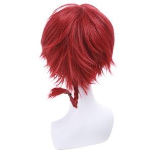 """Image 4 - L דוא""""ל פאה חדש לגמרי רנמה 1/2 רנמה Saotome Cosplay פאות 25cm אדום בורגונדי קצר סינטטי שיער Perucas יוניסקס פאת קוספליי"""