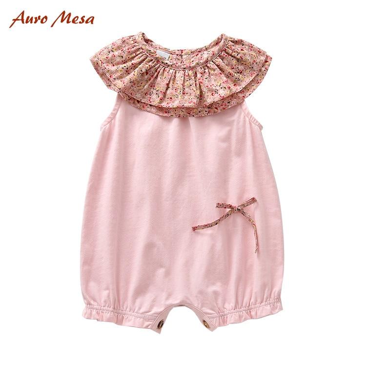 Auro Mesa Summer Pink Baby Girl Romper Flower Rufflers Baby girl Clothes 100% Cotton Sleeveless Infant Girl Jumper