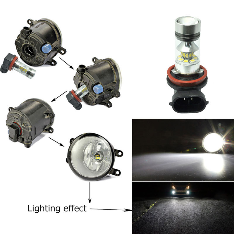 Car Light 2323 H11 100W LED 20-SMD Projector Fog Driving DRL Light Bulb SEC DXY88