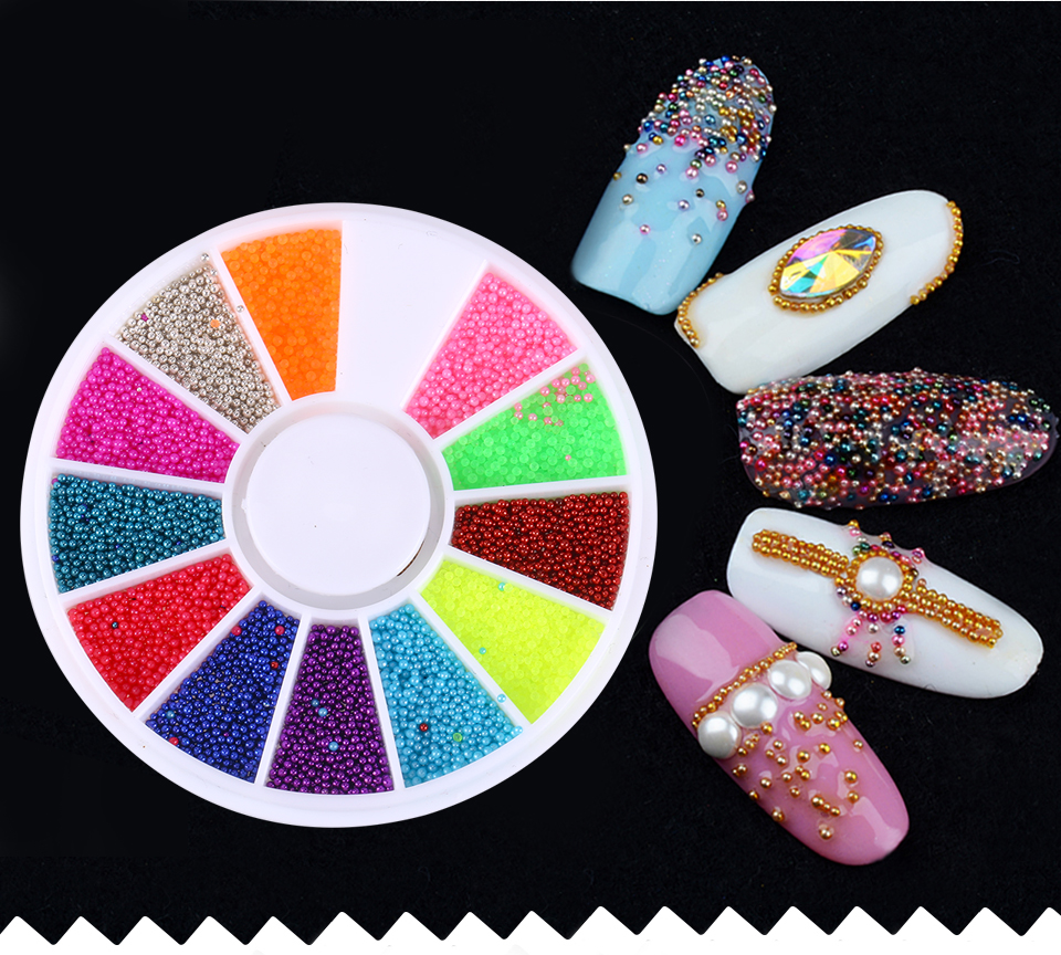 Blueness 12 Colors Microbeads Wheel Nail Decoration 3D Magic Candy ...