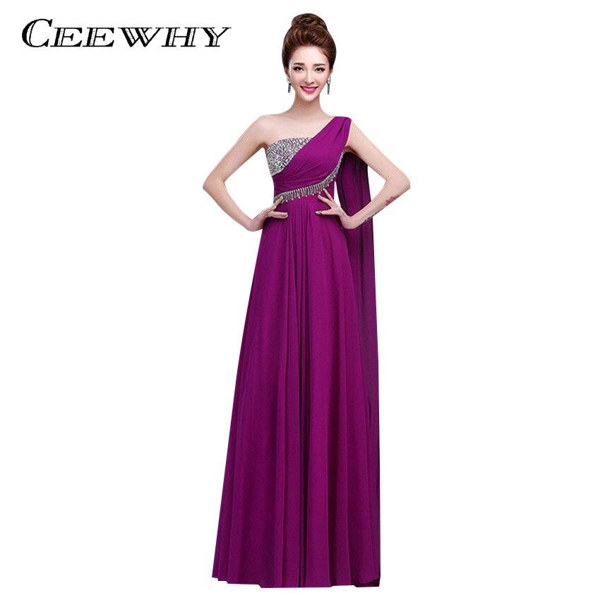 Ceewhy un hombro formal del partido Vestidos gasa vestido de dama de ...