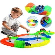 Railway Magical Mini Road Slot Stunt Railroad Lichtgevende Flexibele Gloeiende Racebaan Kinderauto's Racestruck Speelgoed voor Jongens
