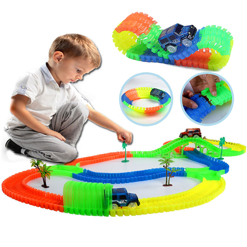 Railway Magical Mini Road Slot Stunt Railroad Luminous Flexible Glowing Race Track Children's Cars Racing Truck Toys for Boys