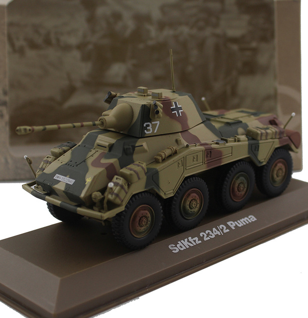 1:43 Germany Sdkfz 234/2 Puma Wheeled armored vehicle Alloy collection model Holiday gift