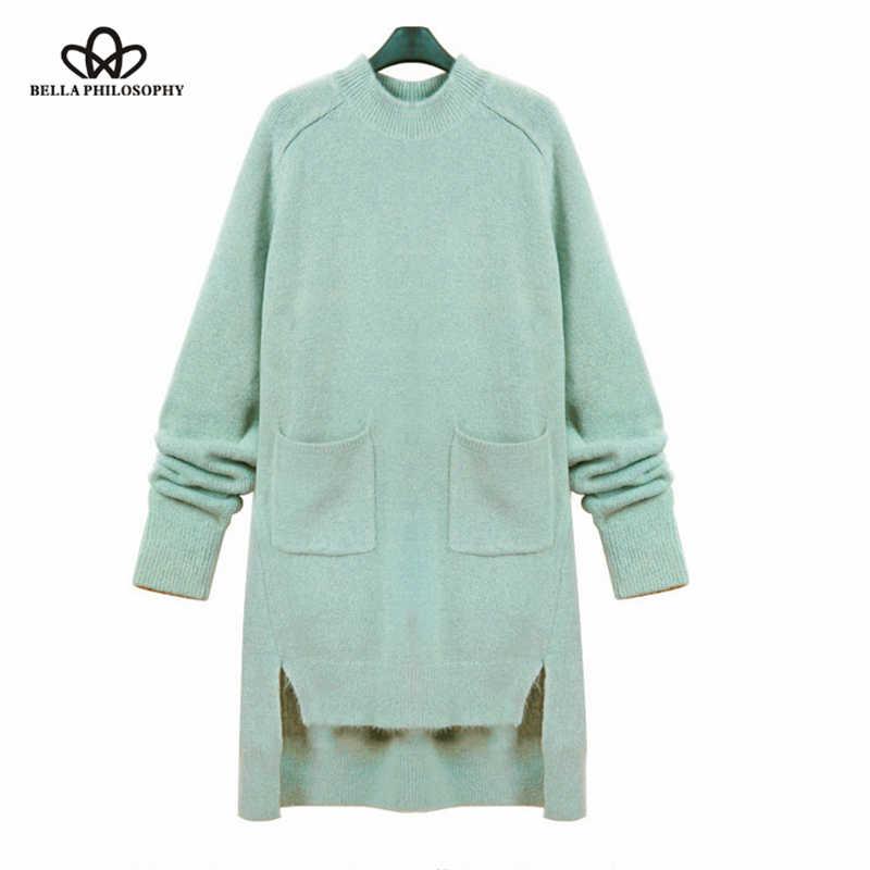 Bella Filosofie herfst winter nieuwe vrouwen wollen trui lange jurk lange mouw licht blauw groen dubbele zakken
