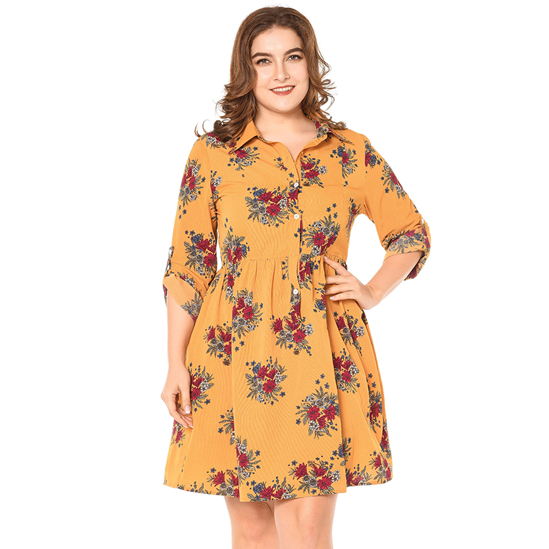 New Fashion Women Shirt Dress Floral Printed Rolled Sleeve Turn Down Collar Buttons Pleated Midi Dresses Plus Size 5XL Vestidos