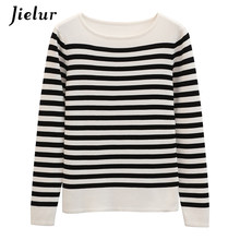 bb6bdea25cd Jielur Spell Color Long Sleeve Sweater Women Autumn Striped Slim Retro  Ladies Sweaters Korean Leisure Harajuku Knitted Pullover