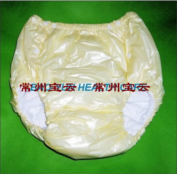 Free Shipping FUUBUU2043-YELLOW-XL PVC/ Adult Diaper/ incontinence pants/Adult baby ABDL