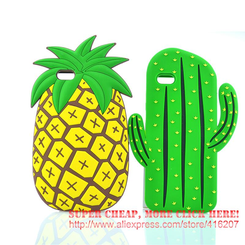 For iPhone 5 5s / SE/ 6 6s / 6 Plus 6s Plus Pineapple Cactus Silicone Rubber Cell Phone Cases Covers