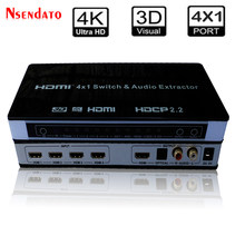 4K Hdmi 4X1 Switch & Audio Extractor per Xbox Dvd Tv 4 in 1 HDMI2.0 Switcher 4K 60Hz 3D Arco Stereo Audio Spdif Rca HDCP2.2(China)
