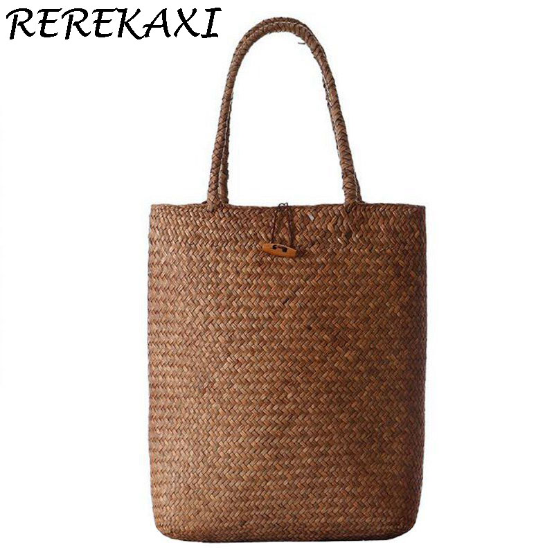 REREKAXI 2017 Beach Bag for Summer Big Straw Bags Handmade Woven Tote Women Travel Handbags Luxury Designer Shopping Hand Bags a5 b5 spiral cute notebook new school stationery horizontal page daily memos top quality paper school supplies composition book