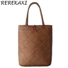 a99e0996074e REREKAXI 2017 пляжная сумка для летнего большой соломенные сумки ручной  работы тотализатор Для женщин Путешествия Сумки