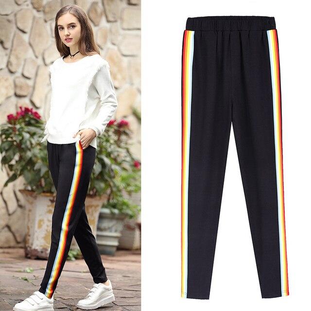 ddd2cba4 2019 женские спортивные штаны шаровары повседневные брюки плюс размер 3XL  4XL 5XL Высокая талия эластичные черные