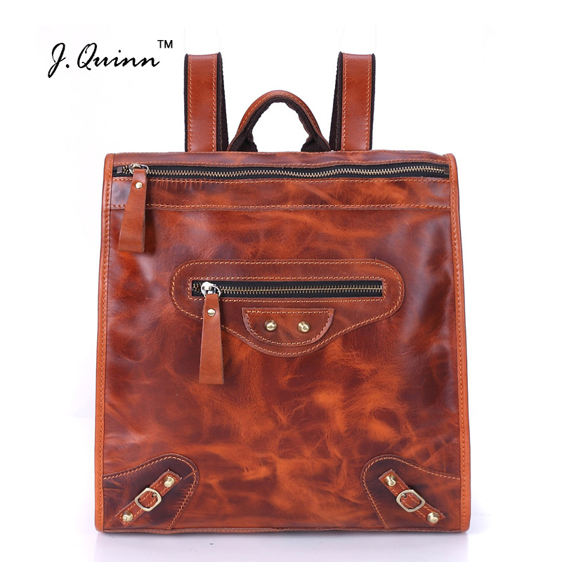 J.Quinn 2017 Genuine Leather Women Backpacks Famous Brands Fashion Lady Cow Backpack School Backpacks Teenage Girls New luxury