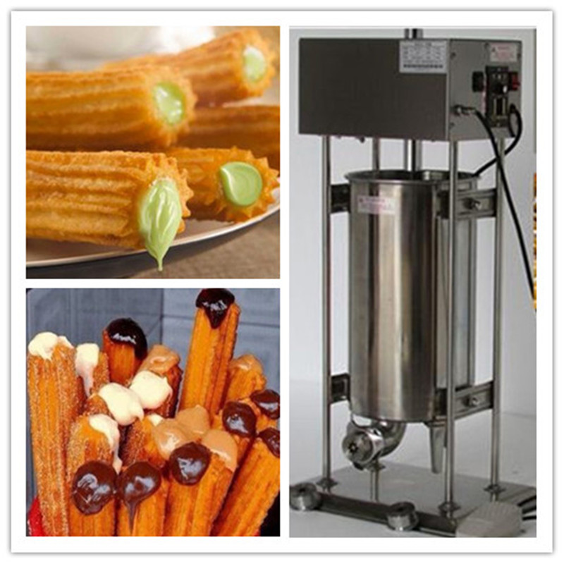 electric stainless steel churros-machine-maker spanish churro making machines with fryer commercial 5l churro maker machine including 6l fryer