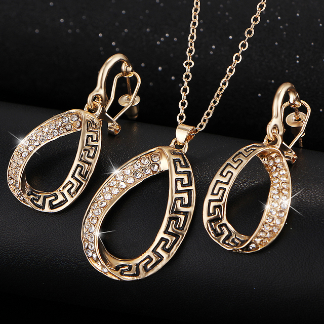 17KM Vintage African Crystal Jewelry Sets for Women Fashion Punk Wedding Women Bridal Accessories Earring Necklace Set