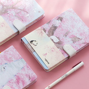 цена 2020 Creative Notebook Cute Kawaii Cherry Blossom Personal Diary A5 Hardcover Notebook Korean Stationery School Office Note Book онлайн в 2017 году