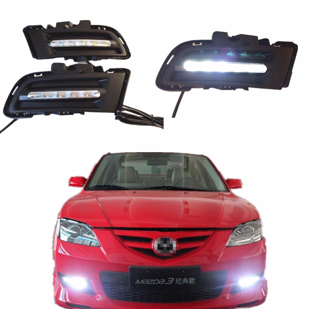LED DRL Daytime running light car styling for Mazda3 M3 2010-2012 fog lamp frame Fog light led drl day light car styling led drl daytime running light fog lamp for toyota prius 2010 2011 2012 led fog light day light drl auto accessories