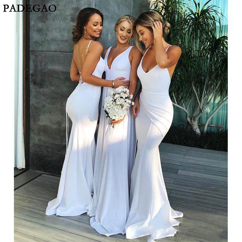 White Mermaid Maxi Style   Bridesmaid     Dresses   Spaghetti V Neck Sexy Backless Country Style Maid Of Honor Wedding Guest Gown