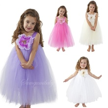 2T-8Y exactement Comme Image 2016 d'été Longueur Fleur Fille Tutu Robe Pour Le Mariage de Fête D'anniversaire Photograps vêtements de Bébé fille