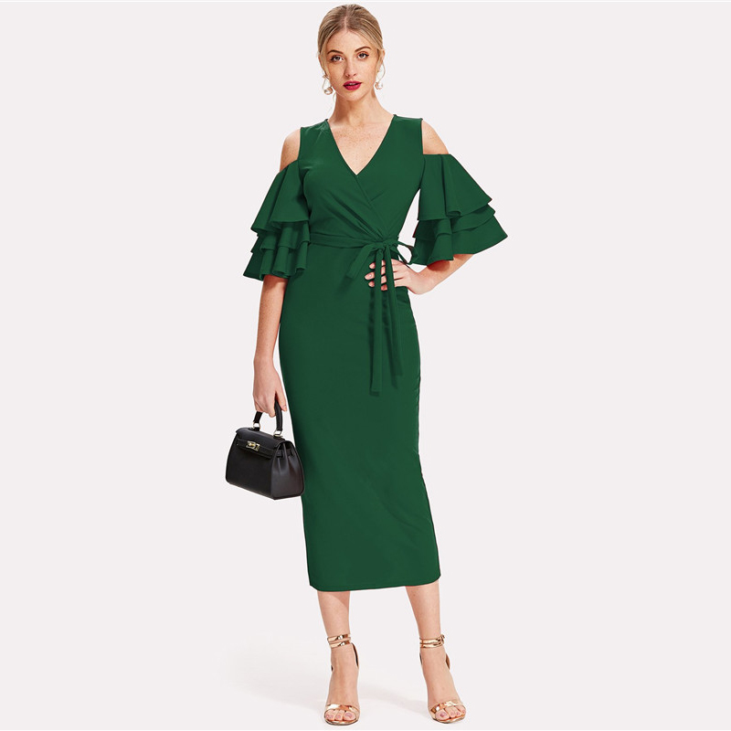 COLROVIE Green Cold Shoulder Ruffle Sleeve Belted V Neck Split Party Dress Women 2018 Autumn Solid Sexy Midi Bodycon Dresses 5